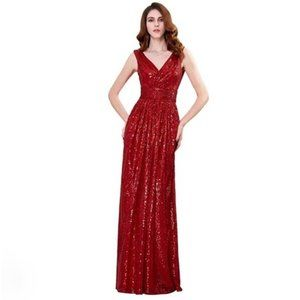 Kate Kasin Dress Sequin Long Red Size 2  S XS NWT